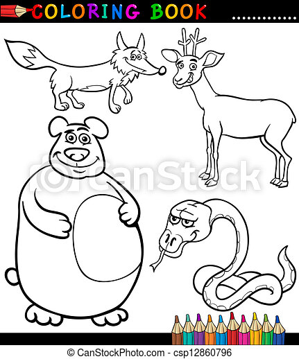 Cartoon Wild Animals For Coloring Book Black And White Coloring