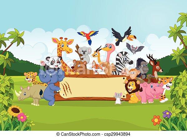 Cartoon Wild Animals Holding Banner Cartoon Animal Vector Squirrel Lion Fun Bird Mammal Bear Platypus Hippo Mouse