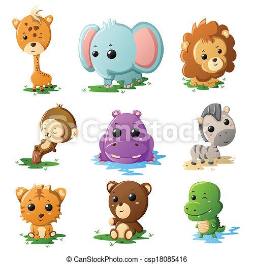Cartoon wildlife animal icons - csp18085416