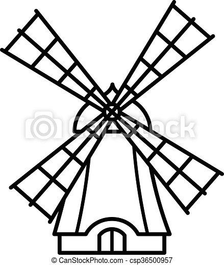 Cartoon windmill outline icon - csp36500957