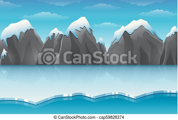 Cartoon winter arctic ice landscape with iceberg and snow mountains rocks hills - csp59828374