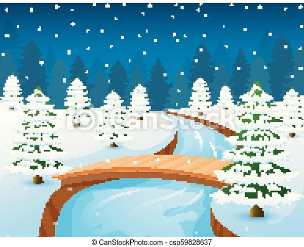 Cartoon winter landscape with forest and small wooden bridge over river - csp59828637