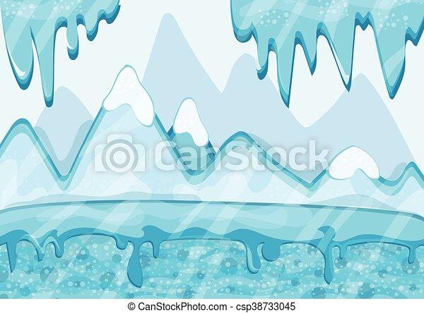 Cartoon winter landscape with iceberg and ice - csp38733045