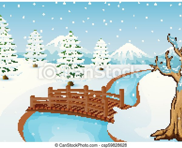 Cartoon winter landscape with mountains and small wooden bridge over river - csp59828628