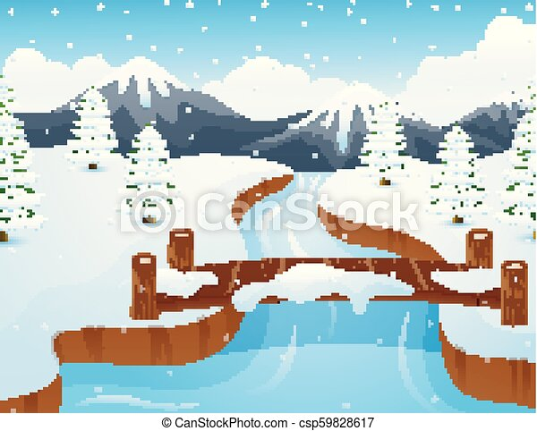 Cartoon winter landscape with mountains and small wooden bridge over river - csp59828617