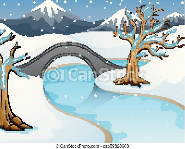 Cartoon winter landscape with mountains and small stone bridge over river - csp59828608