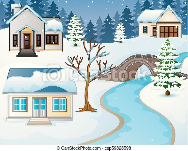 Cartoon winter rural landscape with houses and stone bridge over river - csp59828598