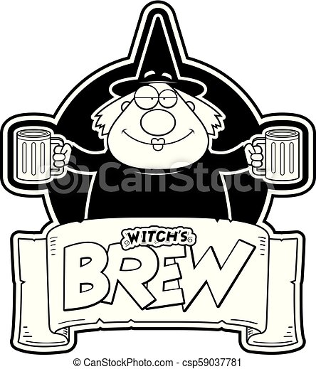 Cartoon Witch Brew Label A Cartoon Illustration Of A Monk With Two Mugs Of Witch S Brew