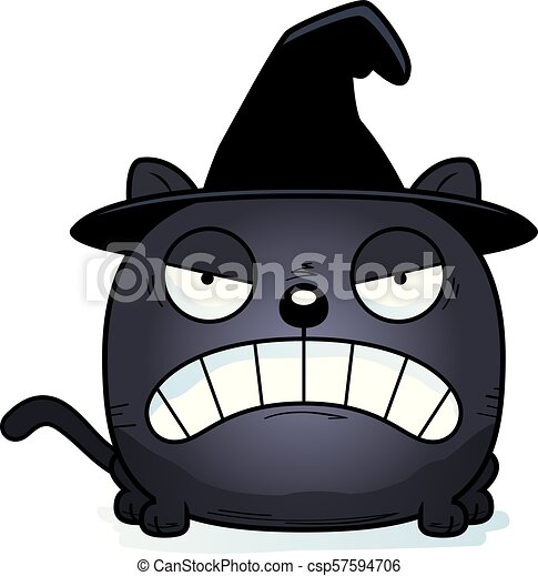 Cartoon Witch Cat Angry - csp57594706