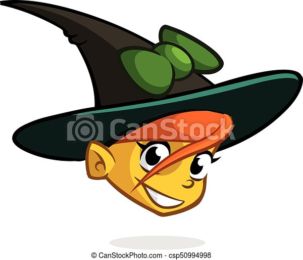 Halloween Cartoon Witch Face.Cartoon Witch Face Vector Clip Art Illustration Of Halloween Witch Head Icon