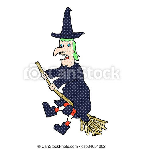 cartoon witch flying on broom - csp34654002