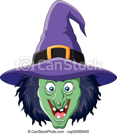 Cartoon witch head isolated on white background - csp50589440