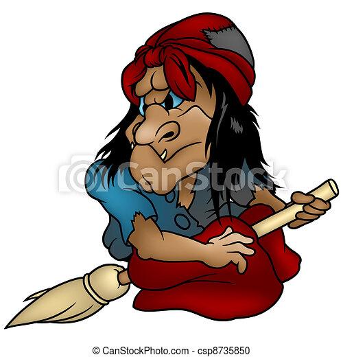 Cartoon Witch - csp8735850