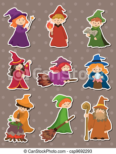 cartoon Wizard and Witch stickers - csp9692293