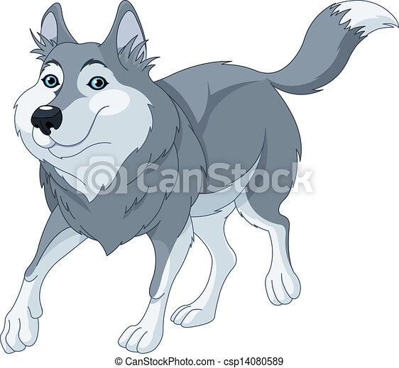 illustration o cute cartoon wolf running vector - search clip art