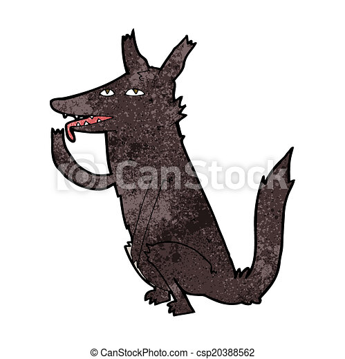 cartoon wolf licking paw - csp20388562