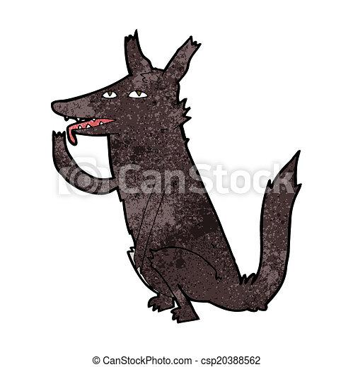 cartoon wolf licking paw - csp20388562