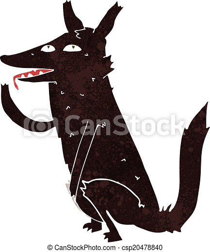 cartoon wolf licking paw - csp20478840