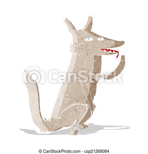 cartoon wolf licking paw - csp21268084