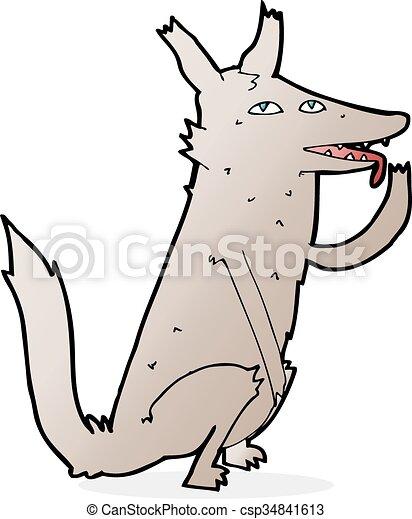 cartoon wolf licking paw - csp34841613