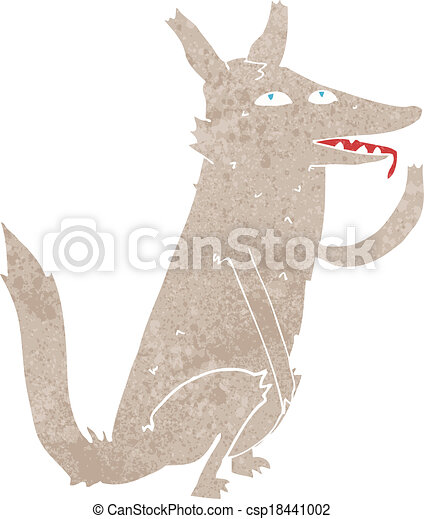 cartoon wolf licking paw - csp18441002