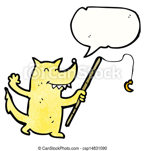 cartoon wolf with fishing rod eps vectors search clip art rh canstockphoto com fishing rod clipart free fishing rod and hook clipart
