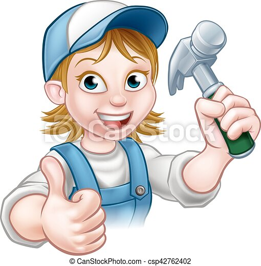 Cartoon Woman Carpenter Holding Hammer - csp42762402