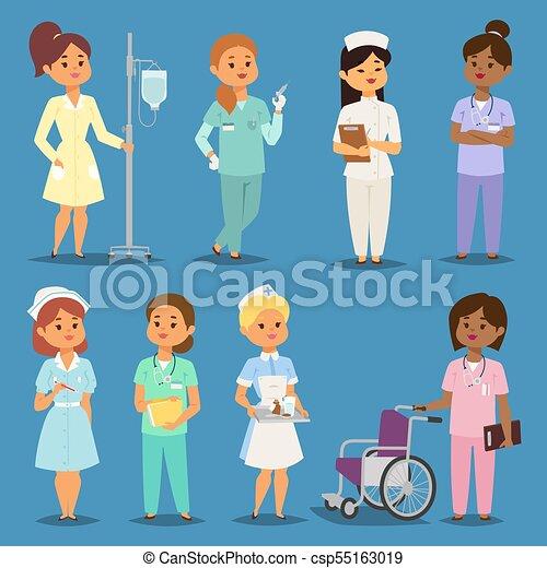 Cartoon Woman Doctors Nurses Vector Girl Meeting Hospital People