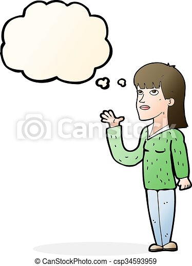 cartoon woman explaining with thought bubble - csp34593959