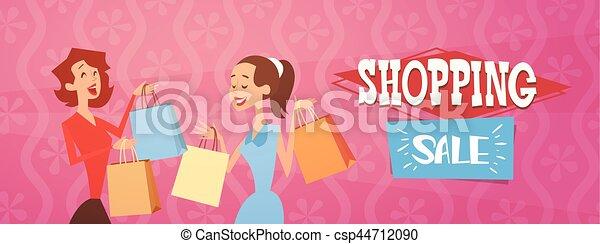 9dea8e6a4c Cartoon woman group with shopping bag big sale banner flat vector ...