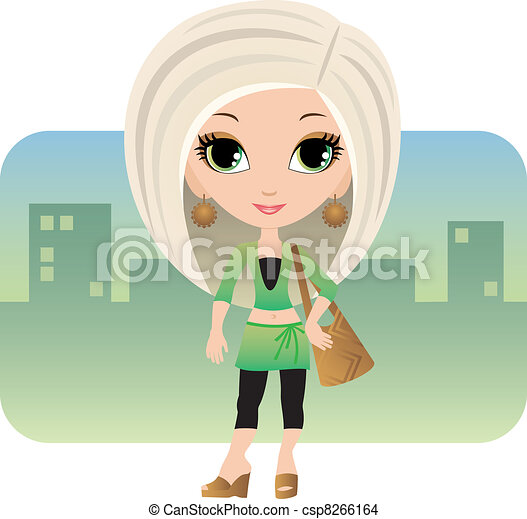 Cartoon woman in a city - csp8266164