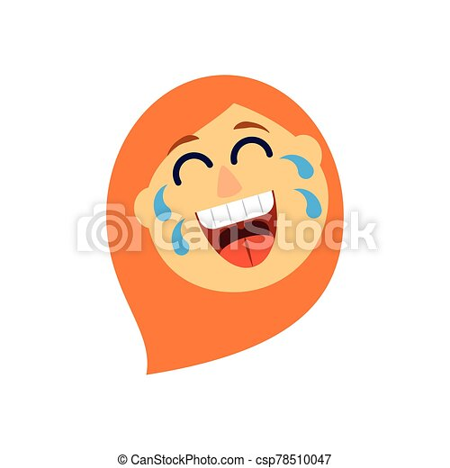 cartoon woman laughing, flat style icon - csp78510047