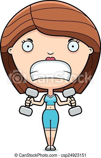 Cartoon Woman Lifting Weights - csp24923151