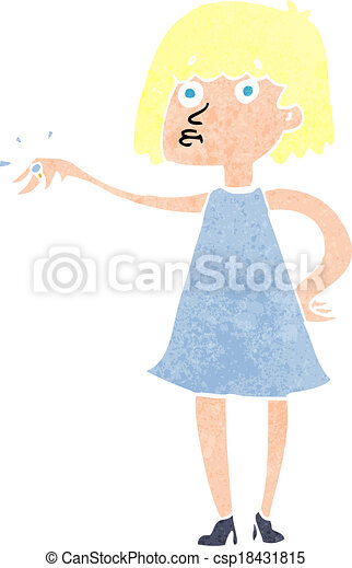 cartoon woman showing off engagement ring - csp18431815