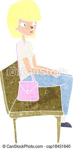 cartoon woman sitting on bench - csp18431640