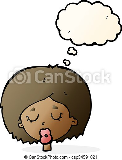 cartoon woman with eyes closed with thought bubble vector rh canstockphoto com free clipart closed eyes free clipart closed eyes