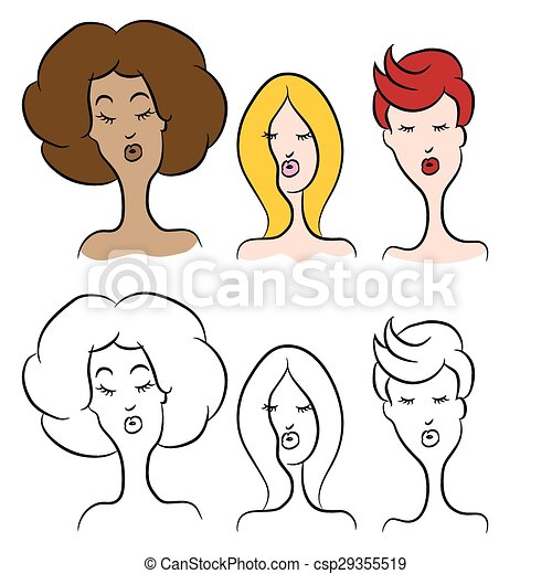 Cartoon Women With Modern Hairstyles An Image Of Cartoon Women With
