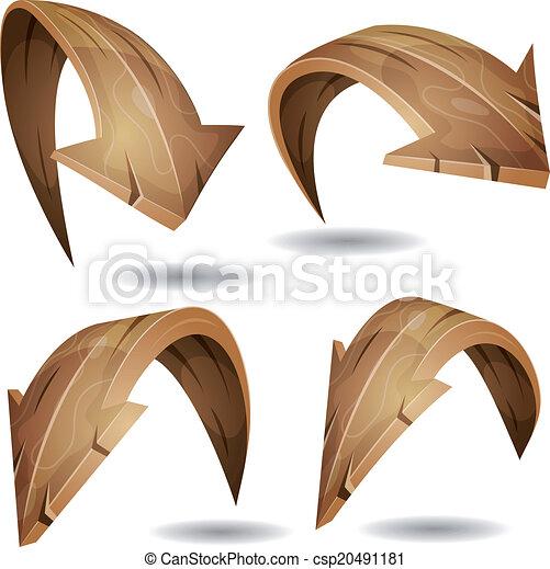 Cartoon Wood Arrows Signs Set - csp20491181