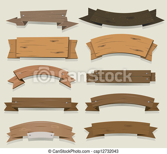 Cartoon Wood Banners And Ribbons - csp12732043