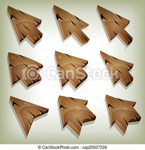 Cartoon Wood Icons, Cursor And Arrows - csp20507339