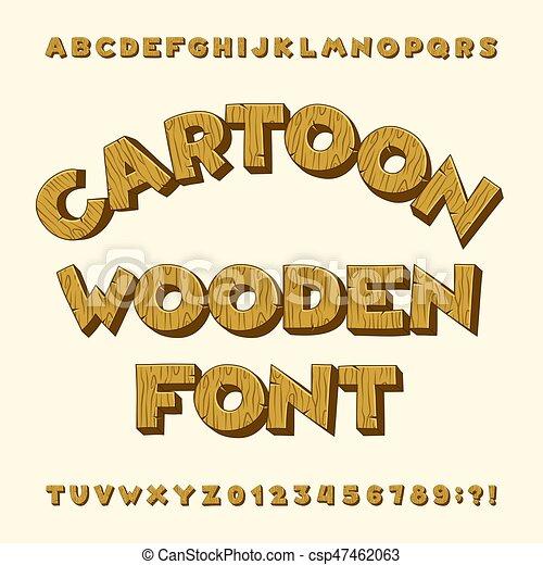 Cartoon Wooden Alphabet Font Type Letters Numbers Clip Art