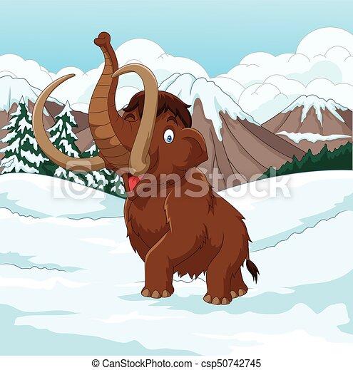 Cartoon Woolly Mammoth walking through a snowy field - csp50742745