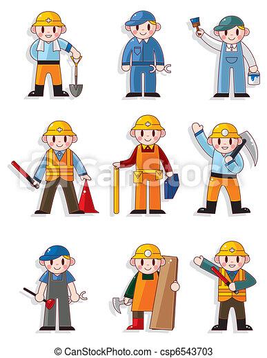 cartoon worker icon - csp6543703