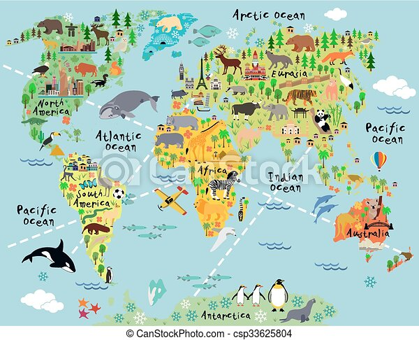 Cartoon world map with landscape and animal vector illustration gumiabroncs Images