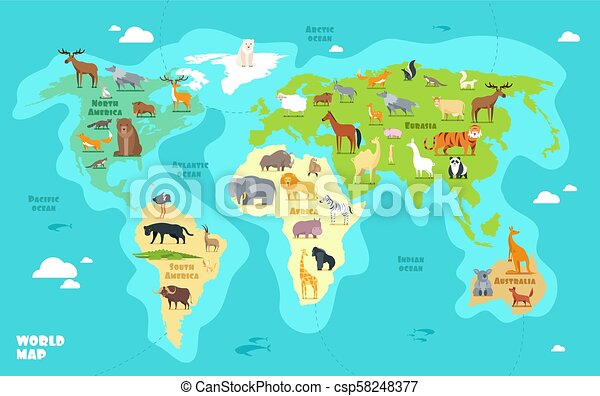 Cartoon world map with animals, oceans and continents. funny ...