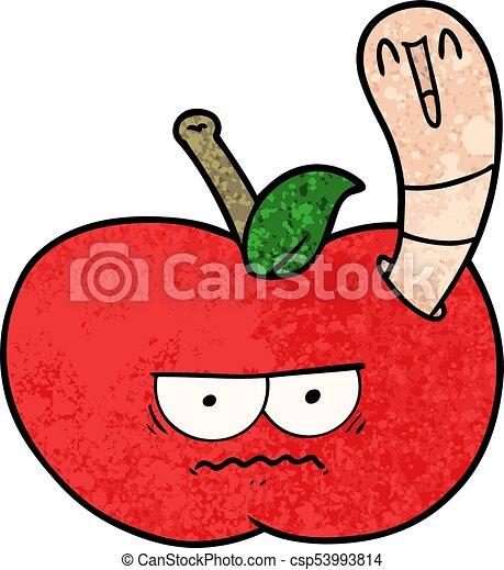 Cartoon Worm Eating An Angry Apple