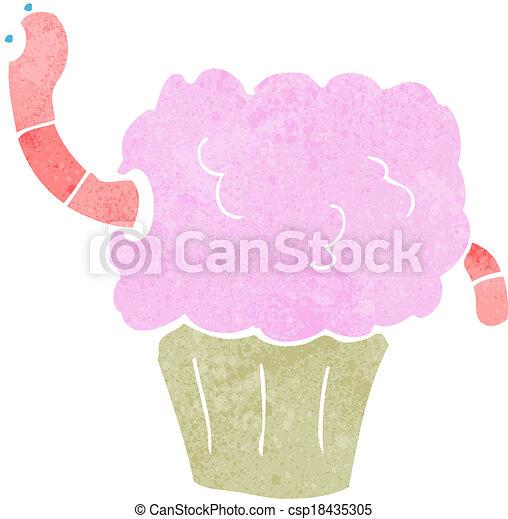 cartoon worm in cupcake - csp18435305