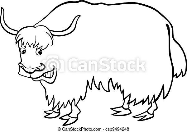yak coloring page - cartoon yak for coloring book cartoon illustration of