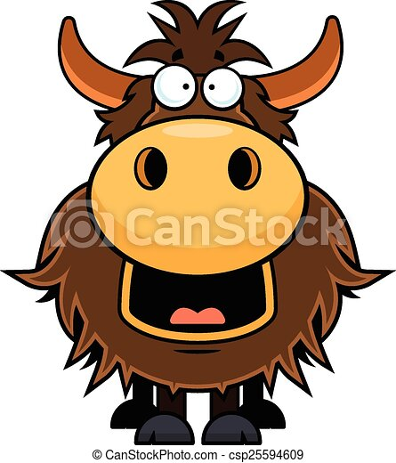 cartoon yak happy cartoon illustration of a yak with a vector rh canstockphoto com