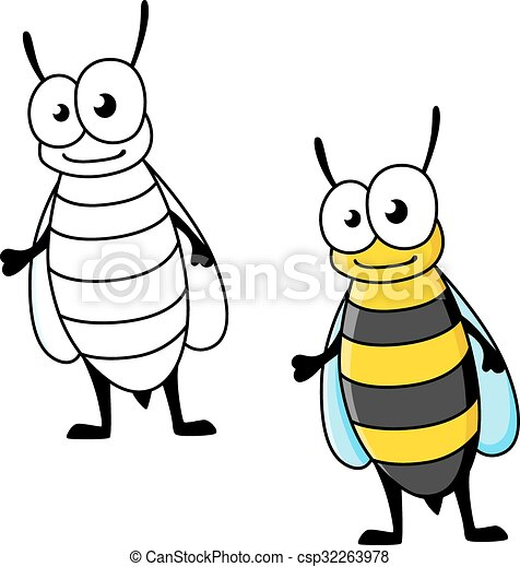 Cartoon Yellow Jacket Wasp Insect Character With Stinger And Smiling